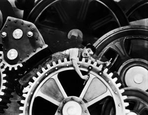"""Imagem do filme """"Tempos Modernos"""", de Charlie Chaplin, de 1936"""