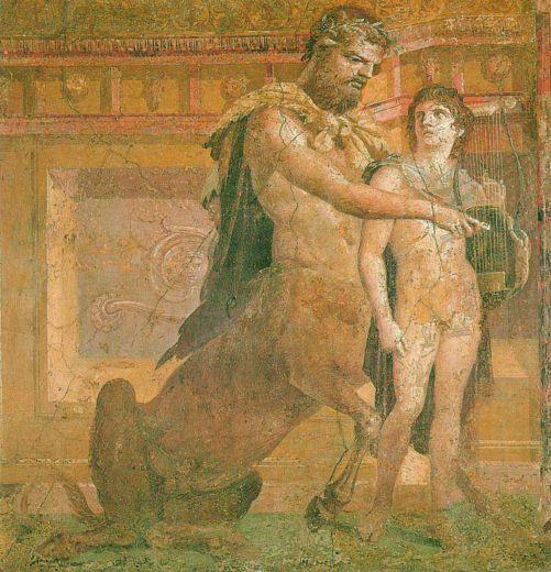 """""""A Educação de Aquiles por Quíron"""" - Fresco por Herculeano (Museo Archeologico Nazionale, Nápoles)"""